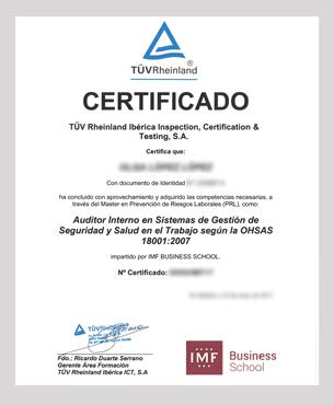 Certificado Interno de Sistemas de Gestión de Seguridad y Salud según OHSAS 18001: 2007