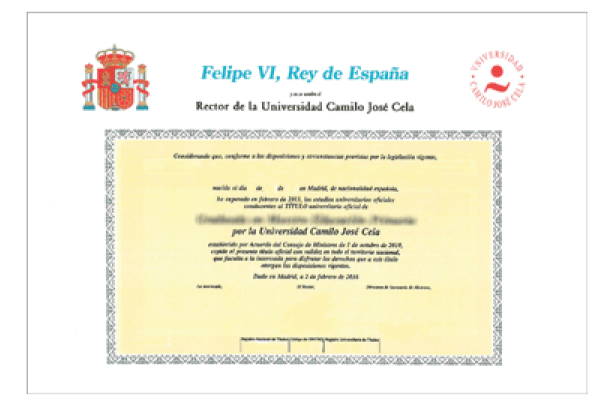 Diploma oficial por la Universidad Camilo José Cela